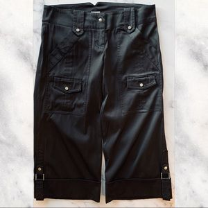 Cache Black Satin Capri Cuffed Cargo Pants size 4